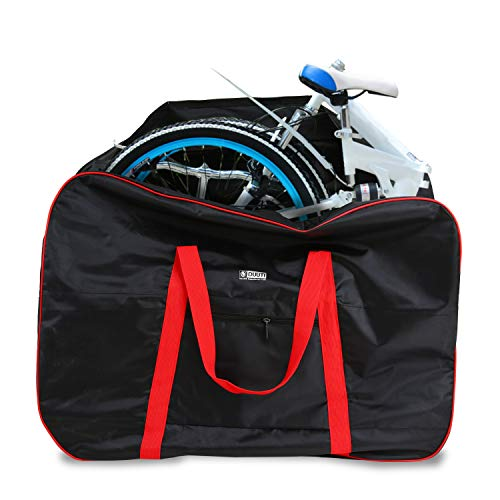 - Huntvp Folding Bike Travel Bag Bicycle Transport Carrying Case with a Carry Bag for 14-20inch Folding Bike Foldaway Bicycle (Red)