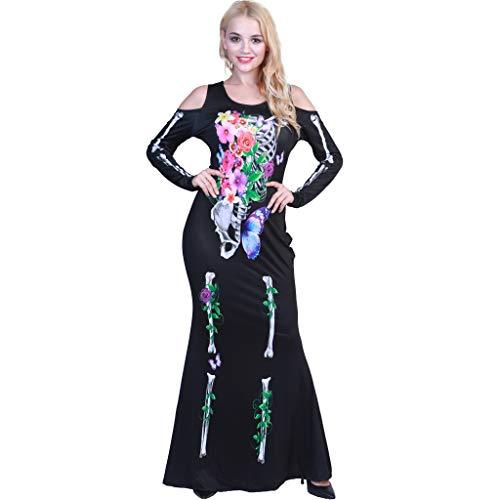 EraSpooky Women Plus Size Beautiful Flower Bones Skeleton Costume -