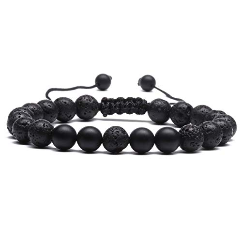 Mens 8mm Lava Stone Rock Bracelet for Women Aromatherapy Anxiety Essential Oil Diffuser Bangle Matte Agate Black E034D