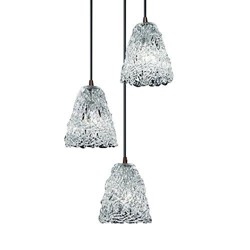 (Justice Design Group Veneto Luce 3-Light Pendant - Dark Bronze Finish with Lace Venetian Glass Shade )