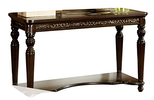UPC 782359278018, Homelegance Russian Hill Sofa Table with Faux Oval Marble Accent and Four Glass Inserts, Cherry