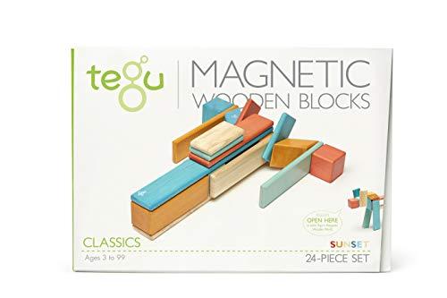 24 Piece Tegu Magnetic Wooden Block Set, Sunset