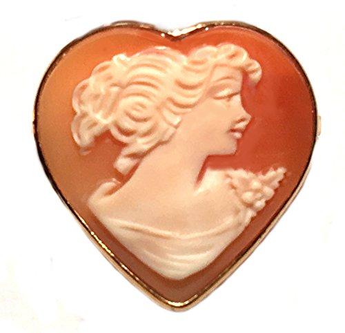 Cameo 18k Brooch (Romantica Cameo Brooch Enhancer Sterling Silver 18k Gold Overlay Master Carved, Italian)