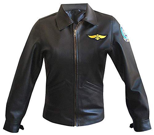 Top Gun Costume Kelly McGillis (Charlie) Flight Black Leather Jacket ()
