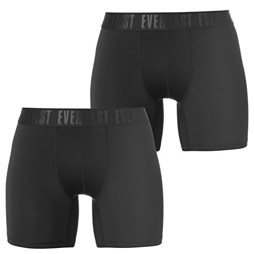 Everlast Mens Training Trunks 2 Pack Underwear Breathable Lightweight Stretch Black Large from Everlast