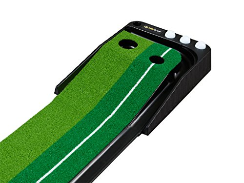 LEVELGOLF - Dual-Track ProEdge Indoor Putting Green - Extra Long 10.5 Feet Mat, 2 Holes / 2 Sizes, Gravity Ball Return and Key Distance Markings