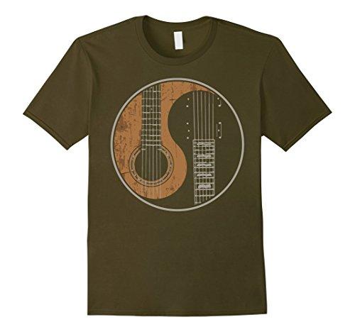 Men's Guitar Yin Yang T-shirt Large Olive