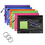 Muhuyi 3-Ring Pen Pencil Pouch with Clear Window Stationery Bag, Zippered Binder Pencil Pouch with Zipper Pulls, 6 Pack 6 Colors