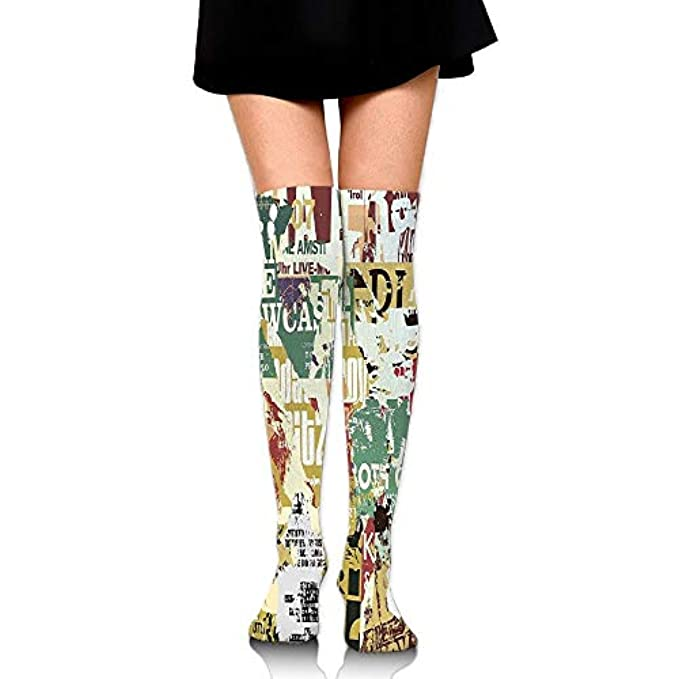 60cm Fashion High Grunge Old Print Socks Torn Casepillows Newspapers Paper Over Knee Art The Of Style Posters Collage Women's Magazines
