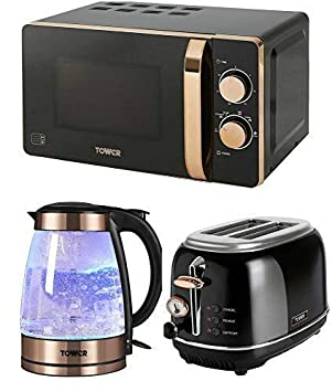 Stylish Retro Tower Kitchen Electrical Appliance Set Rose Gold Black Manual 20 Litre Microwave Rose Gold Black Bottega 2 Slice Toaster And Rose