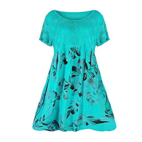 (HIRIRI Summer Women's Sexy Vintage Floral Lace Trim Tunic Flare Short Sleeve Loose Elegant Mini Dress Light Blue)