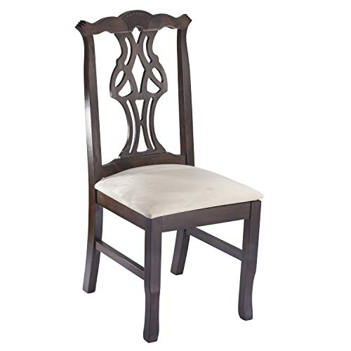 Beechwood Mountain Fully Assembled Chippendale Side Dining Chair in Walnut Finish