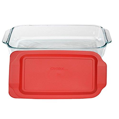 pyrex basics 3 quart glass oblong baking dish with red plastic lid lasagna new. Black Bedroom Furniture Sets. Home Design Ideas