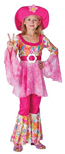 HIPPY DIVA GIRLS 60S SIXTIES HIPPIE FANCY DRESS COSTUME OUTFIT (6-8 years) - 60s Diva Costumes