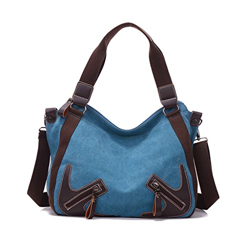 Bandolera De Personalidad Bolsa Moda Mujer Lona Blue Capacidad Gran La qBwBxPd81