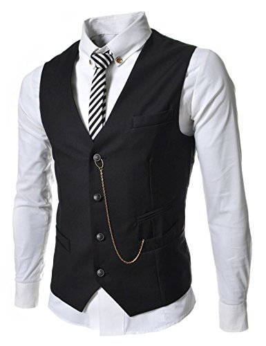 TheLees (GVE) Mens Business Slim Fit Chain Point 4 Button Vest Waist Coat Black US S(Tag size L)