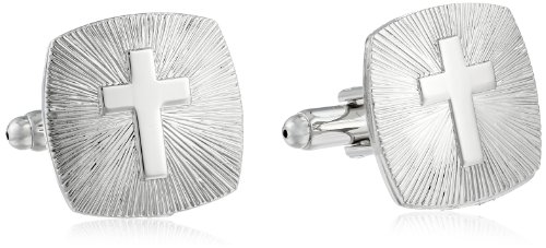 Religious Cross Cufflinks (Status Men's Cuff Links Square Rounded Edges Cross, Silver, One)