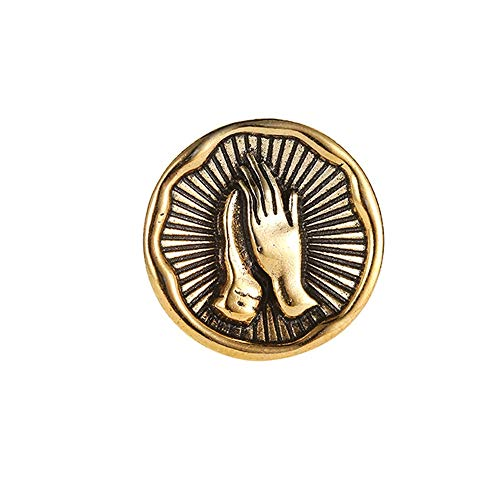 Star and Sea Vintage Lucky Mary Pray Hands Badge Pin Brooch Suit Collar Brooch for Unisex (Gold) -