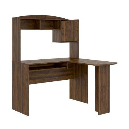 Price comparison product image Corner L Shaped Office Desk with Hutch (Walnut)