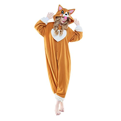 NEWCOSPLAY Adult Unisex Onesie Pajamas Corgi Animal Costume (S, Peach Heart Dog) ()