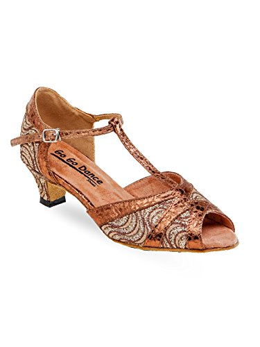 On The Go Ladies Latin/Rhythm Ballroom Dance Shoes w/1.3 Inch Heels GO7302BZ13100 Bronze Leather/Bronze Scale 10 M US