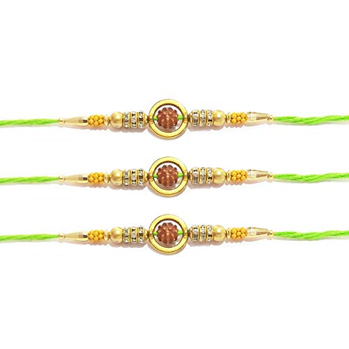 Set of 3 Rakhi for Rakshabandhan with Green Beads and Single rudraksh Multi Beads Threads and for Giving Gift to Brother, Vary Color and Multi Design