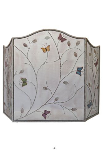 American Chateau Silver Butterfly & Leaves Design 3-Panel Wrought Iron Metal Fireplace Screen ()