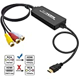 RCA to HDMI Converter, Tackston 1080P RCA Composite CVBS AV to HDMI Video Audio Converter Cable Compatible with Wii NES PS2 Xbox VHS VCR DVD Players, Support PAL/NTSC with HDMI Cable