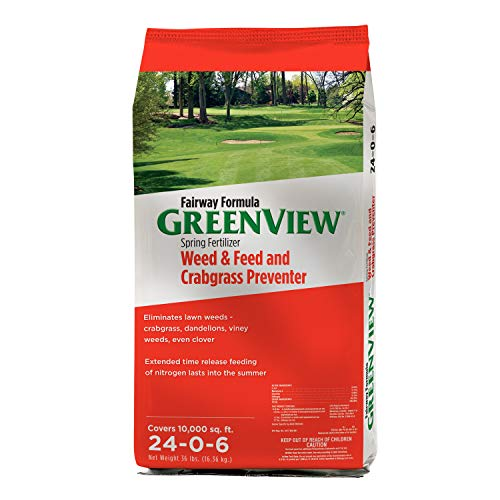 GreenView 2129268 Fairway Formula Spring Fertilizer Weed & Feed + Crabgrass Preventer, 36 lb. -Covers 10,000 sq. ft