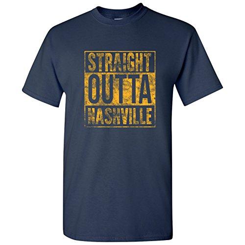 UGP Campus Apparel Straight Outta Nashville T Shirt - Medium - Navy w/Gold Print