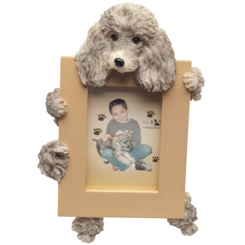Frame Poodle (Silver Poodle Picture Frame Holds Your Favorite 2.5 by 3.5 Inch Photo, Hand Painted Realistic Looking Poodle Stands 6 Inches Tall Holding Beautifully Crafted Frame, Unique and Special Poodle Gifts for Poodle Owners)