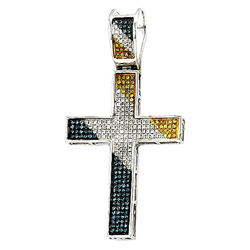 0.50 Carat (ctw) Sterling Silver Blue, White & Yellow Diamond Mens Hip Hop Religious Cross Pendant ()