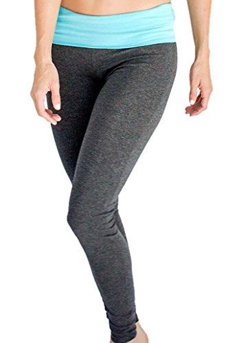 Women's Grey Yoga Leggings Blue Contrast Waist Large