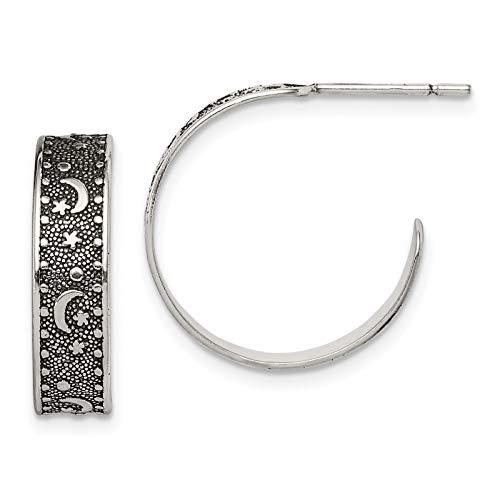 925 Sterling Silver Polished & Antiqued Moon & Star Hoop Post Earrings