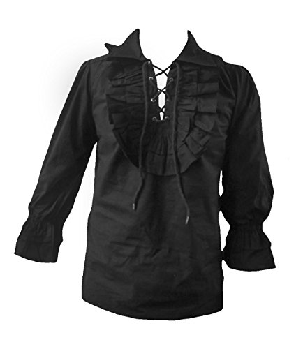 Black - Boys Gothic Frilly Pirate Shirt Halloween Fancy-Dress LARP Victorian Fits Ages (Halloween Fancydress)