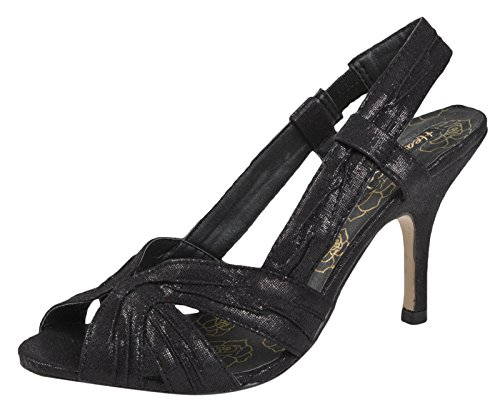WOMENS STILETTO HIGH HEELS SATIN STRAPPY BRIDAL PROM PARTY WEDDING SHOES SANDALS LADIES SIZES 3- 8 Black tLT9d