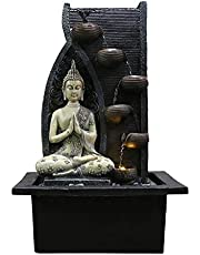 Fuentes de Interior Fuentes decorativas Cubierta truco de escritorio Fuente de resina de Buda estatua de la fuente de la sala humidificador Decoración Decoración característica de Office de agua inter