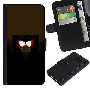 A-type (Malvada divertida del pájaro) Colorida Impresión Funda Cuero Monedero Caja Bolsa Cubierta Caja Piel Card Slots Para Samsung Galaxy S6