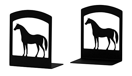 Iron Horse Book Ends -Set of 2-Black Metal Iron Horse Bookends