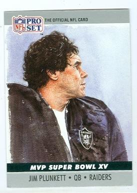 Jim Plunkett football card (Oakland Raiders) 1990 Pro Set #15 Super Bowl MVP 1980
