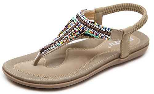 Women's Bohemian Beaded Summer Flat T-Strap Thong Sandals, Beige Open Toe Glitter Rhinestone Shiny Candy Colored Beads Shoes for Dressy Casual Jeans Daily Wear and Beach Vacation Amazon Choice Holiday -