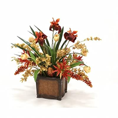 Distinctive Designs International 6927 Tulips, Orchids & Irises in Leather-finish Planter