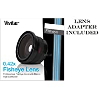 VIVITAR Series 1 0.42X HD Fisheye Ultra Wide Angle Conversion Lens with Macro for Canon M40 M41 M400 M406 HG10 HV20 HV30 and Panasonic HS250 HS300 TM20 TM300 NV-GS250 AG-DVC30 NV-GS150 NV-GS400 - also works with any camera or camcorder with 43mm filter thread Lens.