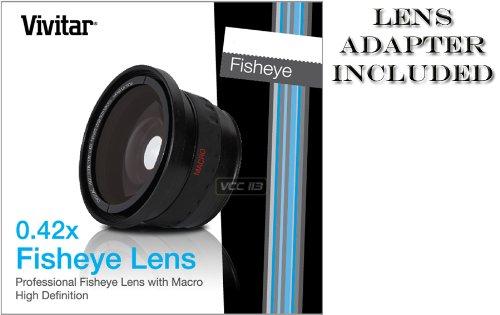 VIVITAR Series 1 0.42X HD FishEye Ultra Wide Angle Lens with Macro for Jvc GZ-MG330 GZ-MG21 GZ-21U GZ-HD300 GZ-HD320 GZ-HM200 GR-D72US GR-D72 GR-D73US GR-D73 and Panasonic VDR-D150 HDC TM10 SD10 (Sd10 Hd Camcorder)
