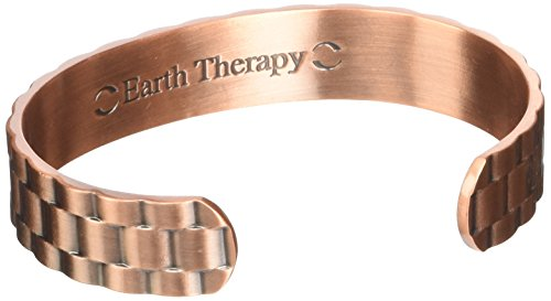 Earth Therapy - Pure Copper Magnetic Heavyweight Cuff Bracelet for Men - Recovery and Injury Relief - Golf, Tennis, Baseball, Volleyball, Squash & More