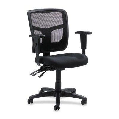 Lorell  Managerial Mid-Back Chair,25-1/4″x23-1/2″x35″-41-3/10″,BK