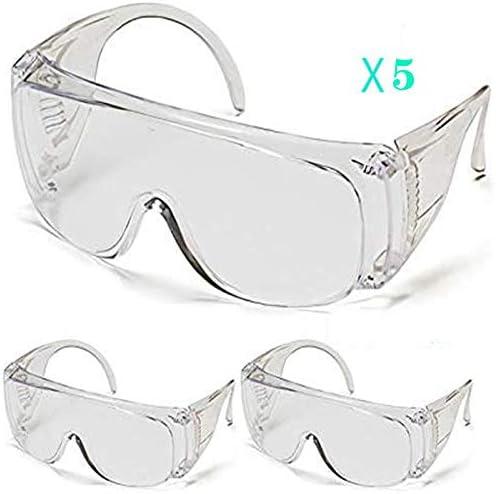 5 gafas de seguridad, gafas de seguridad transparentes, gafas protectoras selladas de sombra de ojos con gafas, utilizadas en laboratorio de molienda, cirujano, enfermero, hospital, etc.