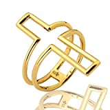 LOVEBLING 10K Yellow Gold Cross Shape Cut Out Geometric Design Ring, Available in Sizes 5-9 (5.5)