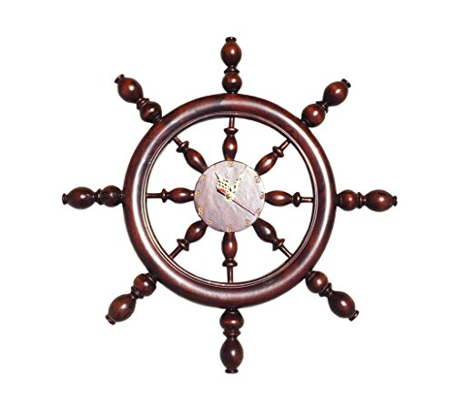 D-Art Handmade Mahogany Captain's Wheel Clock (Indonesia) by DART
