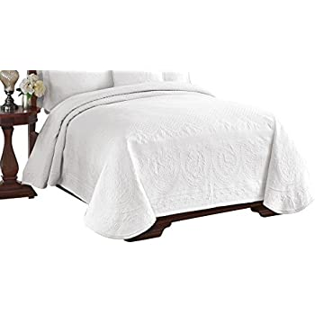 Historic Charleston 13991BEDDKNGWHI King Charles Matelasse 108 Inch By  96 Inch King Coverlet, White
